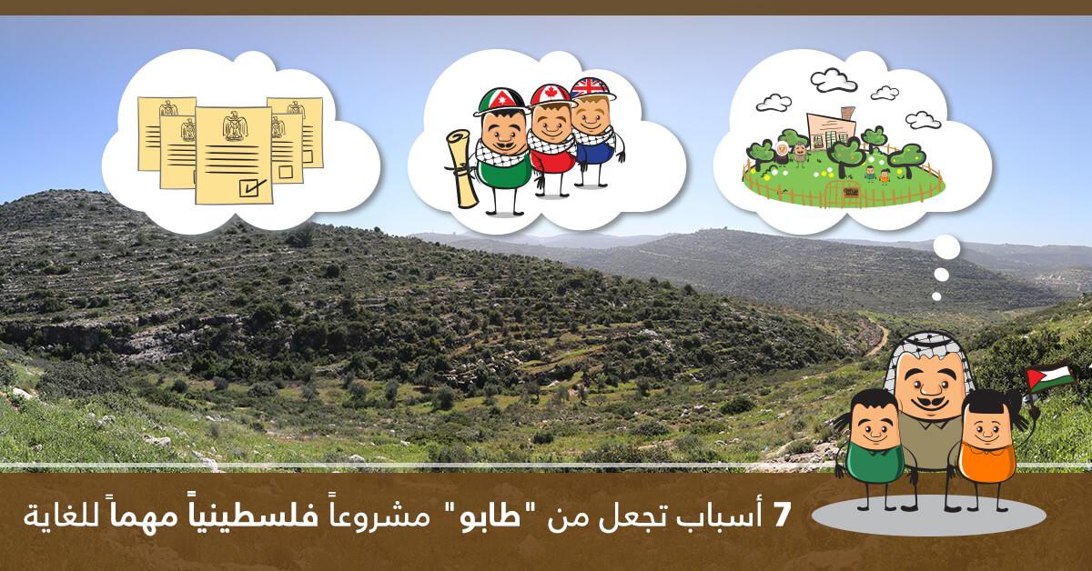 """7 أسباب تجعل من """"طابو"""" مشروعاً فلسطينياً مهماً للغاية"""