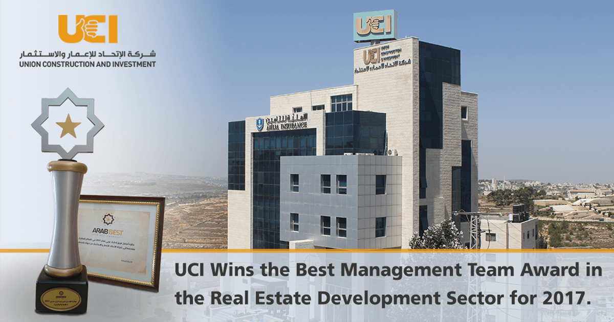 UCI Wins the Best Management Team Award in the Real Estate Development Sector for 2017